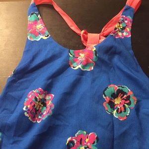 Blue Lilly Pulitzer flower tank with pink bow back